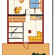 Grundriss Dachgeschoss mit Beispielausstattung.