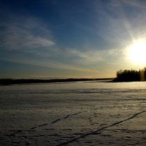 Ein neuer Tag. Strahlende Sonne. Stahlblauer Himmel. Kalte Temperaturen. Jetzt die im Mökki vorhandenen Langlaufski nehmen und raus auf den gefrorenen Päijänne See. direkt vor Ihrem zu Hause.