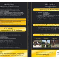 """In dem Flyer """"Myo Power"""" der Firma Equistro wurde mein Foto eines Distanzreiters veröffentlicht."""