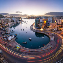 St. Julian's-Spinola Bay and aerial view at dawn