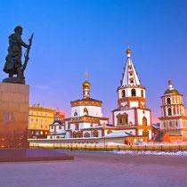 Irkutsk - Traditional architecture and Bogoyavlensky (Epiphany) Cathedral