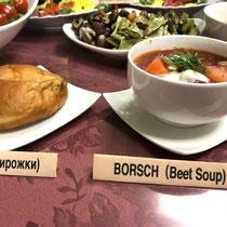 ロシアとブータン料理 ③ Piroshki & Borsch soup