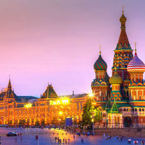 Moscow - St Basil's Cathedral and GUM shopping centre at twilight.