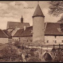 Alte Ansicht des Hungerturms und Römerbrücke