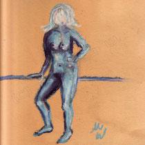 2005 - Aktstudie mit Ölkreide auf Farbkarton
