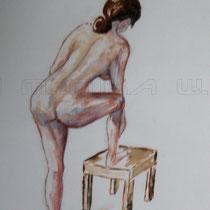 2002 - weiblicher Akt mit Hocker - Aquarellstifte, 30 x 40 cm