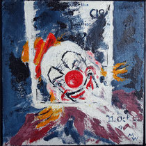 2002 - Plakatclown - Acryl auf Jute, 40 x 40 cm