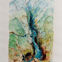 2002 - China, Jangste,3 kl.Schluchten - Aquarell/Tusche