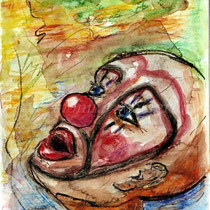 2003 - Clown - Aquarellstifte/Tusche /Papier, 30 x 40 cm