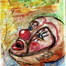 2003 - Clown - Aquarellstifte/Tusche /Papier, 30 x 40 cm