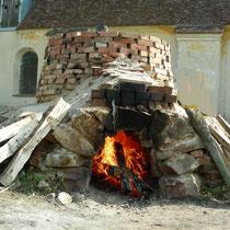 gemauerter Kalkofen zum Kalkbrennen