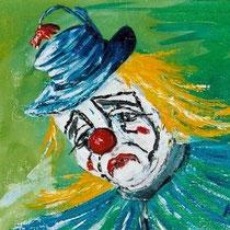 2003 - trauriger Clown 1 - Acryl auf Jute, 40 x 40 cm - Privatbesitz