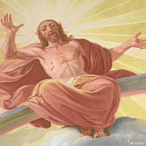 Sakristei - in der Mitte der Deckenmalerei thront Christus auf dem Regenbogen