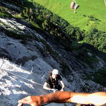 Wandflucht nach der Leiter