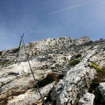 Ausstieg am Gipfelgrat