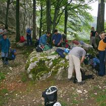 Gruppe vor dem Einstieg