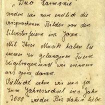 Brief eines Gastes vom Hotel Josen