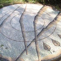 mosaïque de sol, décor sous tonnelle
