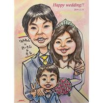 結婚記念日にお写真からカリカチュア似顔絵、ウェディング仕様です。