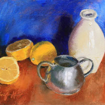 "Lemons with Pottery and Pewter, Oil, 9x12"" Available"