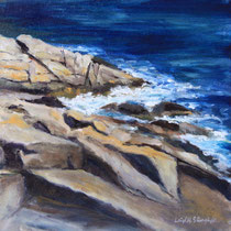 "Atlantic Path@ Phillips Ave Footpath, 12x12"" Oil on canvas board"