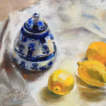 "A Lemon Trio with Blue and White, Oil, 9x12""-- SOLD"