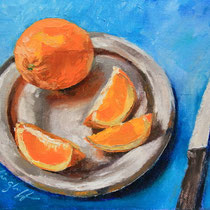 "Silver Service, Orange snack, Oil, 8x10"", SOLD"