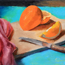 "Freshly Sliced AKA Strange Arrange L'Orange, Oil, 8x10""-- SOLD"