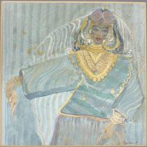 1989, SUSANNES SCHWENKBEREICH beim BAUCHTANZ, 35 x 35, Öl und Acryl