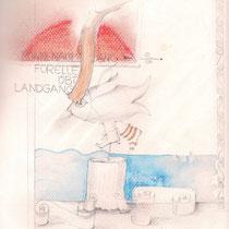 1990, FORELLE ÜBT LANDGANG, Buntstift-Zeichnung, Privatbesitz