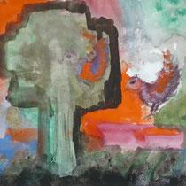 1977, VOGELSTIMME, 37,5 x 36, Acryl