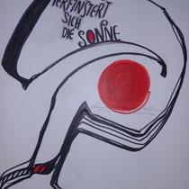 1989, LANGSAM VERFINSTERT SICH DIE SONNE, 40 x 50, Tusche und Acryl