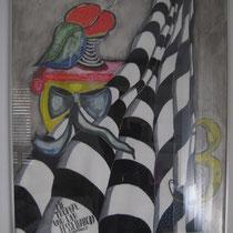 1993, DIE TROPHAE UND DER FESSELBALLON, 100 x 140, Acryl,  Privatbesitz