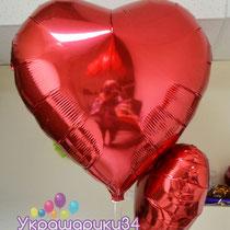 Большой шар-сердце из фольги