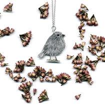 Silberkette mit Vogelzeichnung • DICKER VOGEL #02 || silver chain with hand-drawn bird • PLUMP BIRD 02