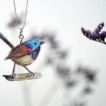 VogelSchmuckFaden Staffelschwanz Nr. 01 || BirdJewelleryThread Red-winged Fairy-wren No 01