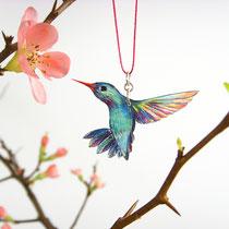 Kolibrikette mit handgezeichnetem Kolibrianhänger • Unikat #06 || Hummingbirdnecklace with hand-drawn bird pendant • unicum #06