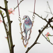 Halskette mit Gabelracke #05 || Bird necklace with a lilac-breasted roller #05