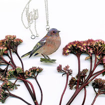 Halskette mit großem Vogelanhänger • BUCHFINK 01  || silver chain with a large drawing of a bird – CHAFFINCH 01