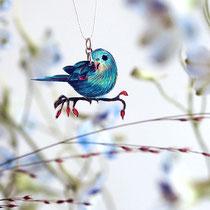 handgezeichneter Vogelanhänger • Sittich #11 || chain with drawing of a parakeet # 11