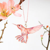 Kette mit Kolibri #07 || Bird necklace with pink hummingbird #07
