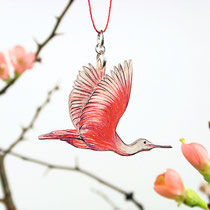 Vogelkette mit Löffler #03 || Bird necklace with roseate spoonbill #03