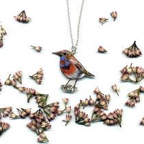BLAUKEHLCHEN #03 • Halskette mit Vogelanhänger || BLUETHROAT #03 • Silver chain with bird pendant