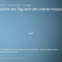 Venus am Tag nach der unteren Konjunktion; Schlägl, 14:00 MESZ, 2017 03 26
