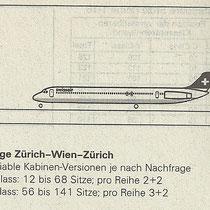 Informationen über die Trennung der Buchungsklassen/Courtesy: Swissair