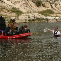 Christophe MONIER dans l'eau et les cadreurs