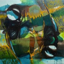 o.T., 2017, Öl auf LW, 100 x 100 cm