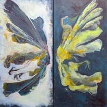 gefallene engel, 2013, dipthychon à 30 x 60 cm, mischtechnik auf LW