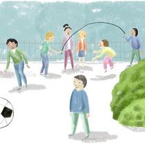 Detail uit illustratie 'Buitenspelen'