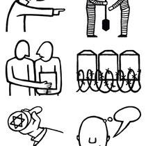 Symbolen voor educatieve uitgave van het Nationaal Monument Kamp Vught